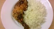Sült csirkecomb rizzsel